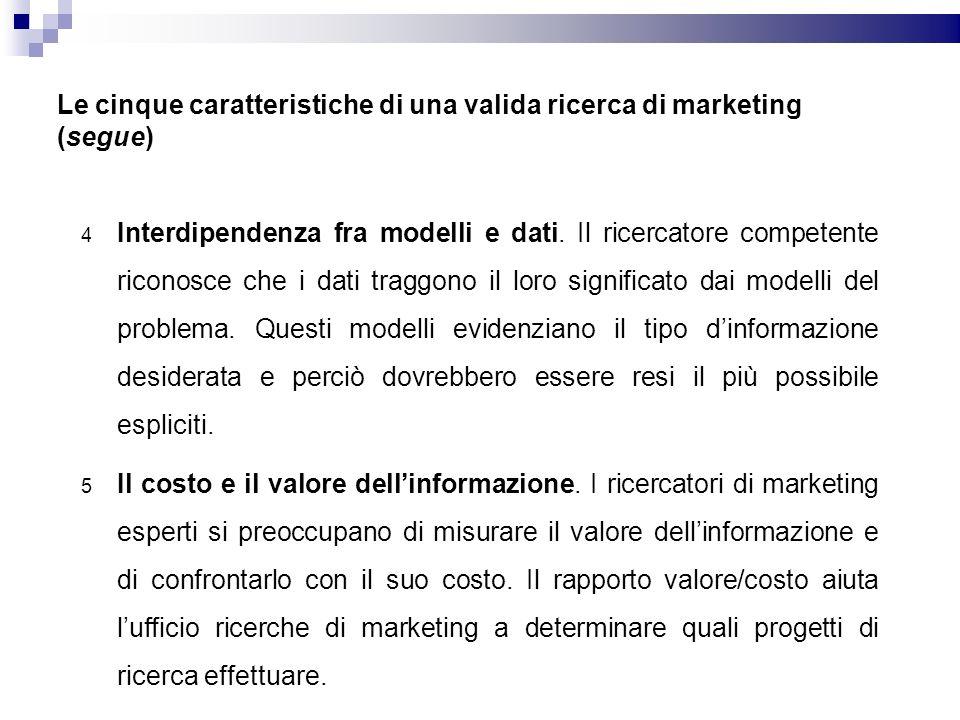 Le cinque caratteristiche di una valida ricerca di marketing (segue) 4 Interdipendenza fra modelli e dati. Il ricercatore competente riconosce che i d