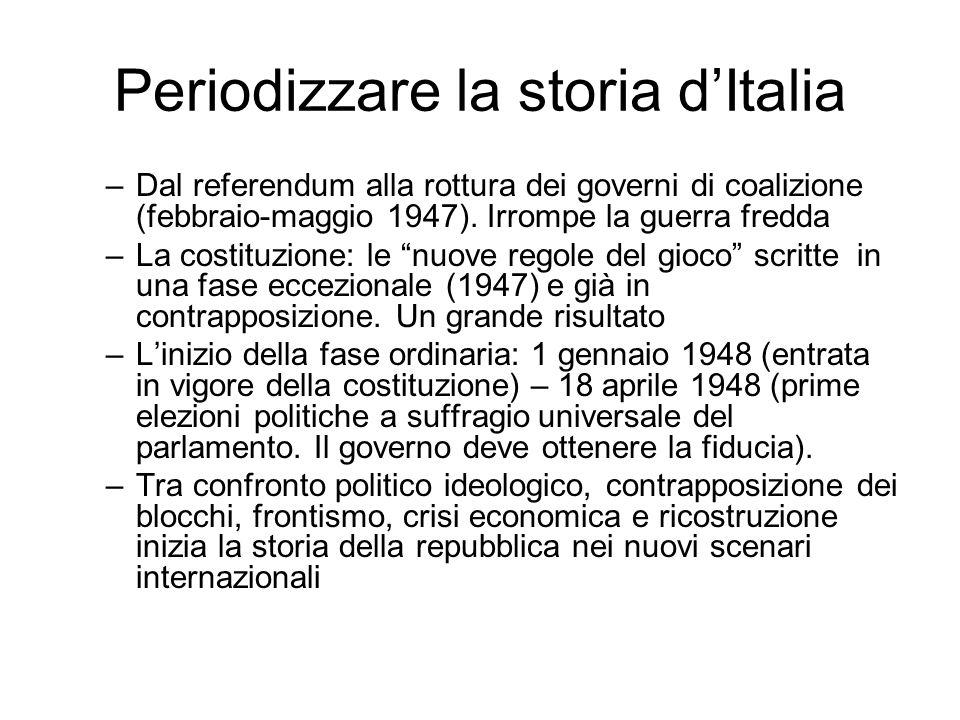 Periodizzare la storia dItalia –Dal referendum alla rottura dei governi di coalizione (febbraio-maggio 1947). Irrompe la guerra fredda –La costituzion