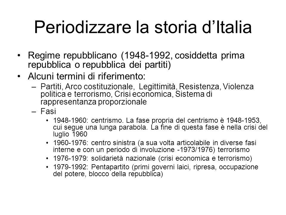 Periodizzare la storia dItalia Regime repubblicano (1948-1992, cosiddetta prima repubblica o repubblica dei partiti) Alcuni termini di riferimento: –P
