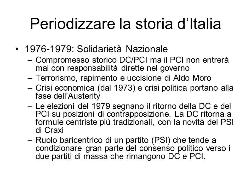 Periodizzare la storia dItalia 1976-1979: Solidarietà Nazionale –Compromesso storico DC/PCI ma il PCI non entrerà mai con responsabilità dirette nel g