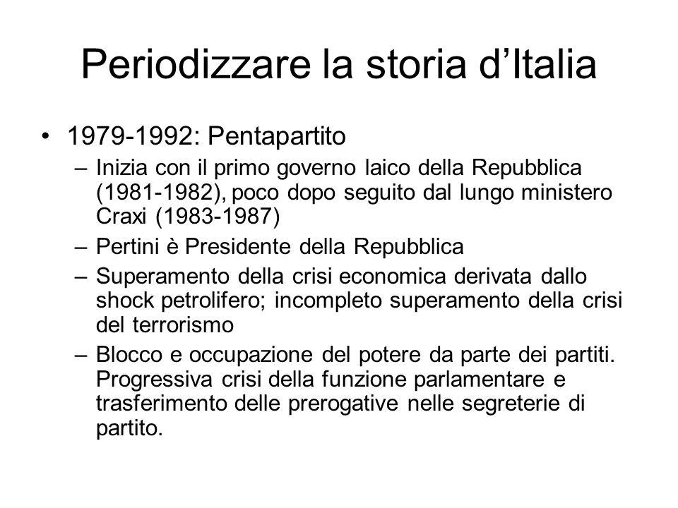 Periodizzare la storia dItalia 1979-1992: Pentapartito –Inizia con il primo governo laico della Repubblica (1981-1982), poco dopo seguito dal lungo mi