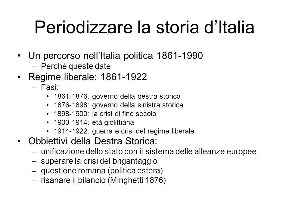 Periodizzare la storia dItalia –La Sinistra storica Due personaggi Depretis (dal 1876 al 1887) e Crispi (1887- 1896 - Adua) dominano la scena con il primo intermezzo quasi liberale di Giolitti cui segue il ritorno e la svolta autoritaria di Crispi.