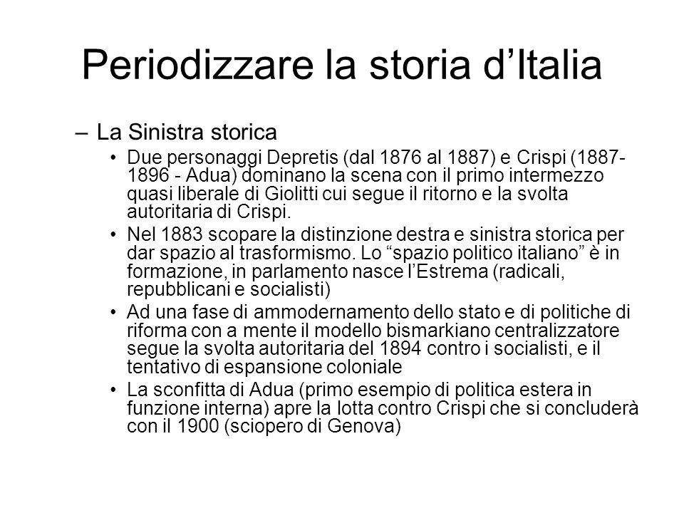 Periodizzare la storia dItalia –La Sinistra storica Due personaggi Depretis (dal 1876 al 1887) e Crispi (1887- 1896 - Adua) dominano la scena con il p