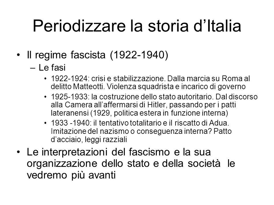 Periodizzare la storia dItalia Il regime fascista (1922-1940) –Le fasi 1922-1924: crisi e stabilizzazione. Dalla marcia su Roma al delitto Matteotti.