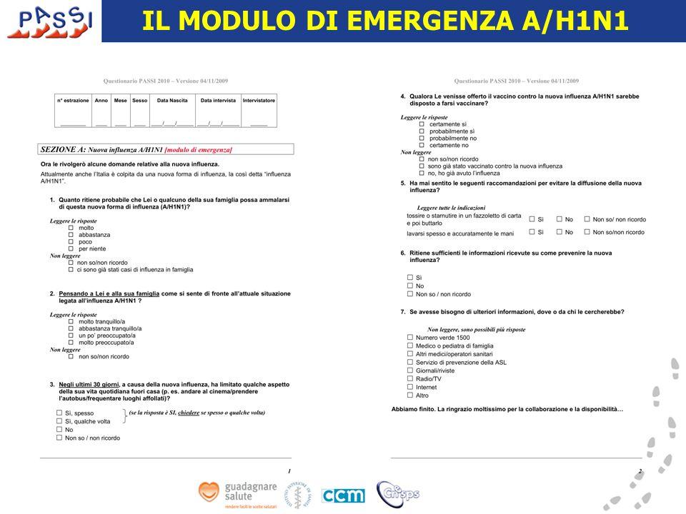 IL MODULO DI EMERGENZA A/H1N1