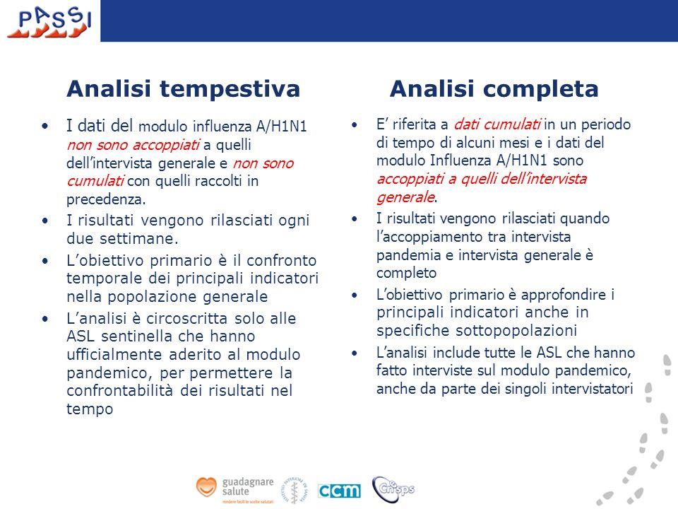 Analisi tempestiva I dati del modulo influenza A/H1N1 non sono accoppiati a quelli dellintervista generale e non sono cumulati con quelli raccolti in precedenza.