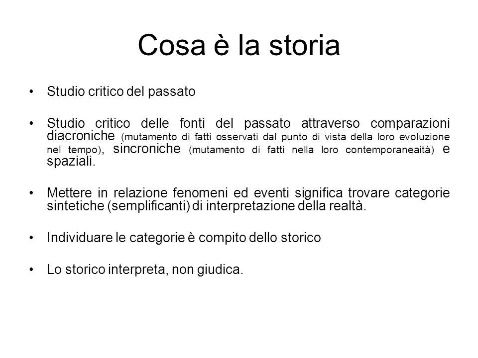 Cosa è la storia Studio critico del passato Studio critico delle fonti del passato attraverso comparazioni diacroniche (mutamento di fatti osservati d