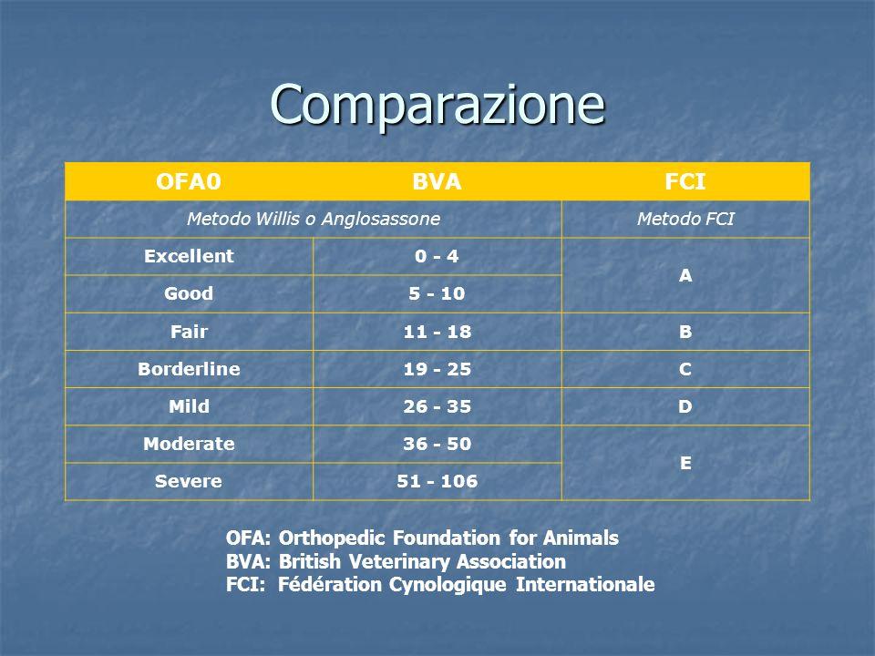 Comparazione OFA0BVAFCI Metodo Willis o AnglosassoneMetodo FCI Excellent0 - 4 A Good5 - 10 Fair11 - 18B Borderline19 - 25C Mild26 - 35D Moderate36 - 5