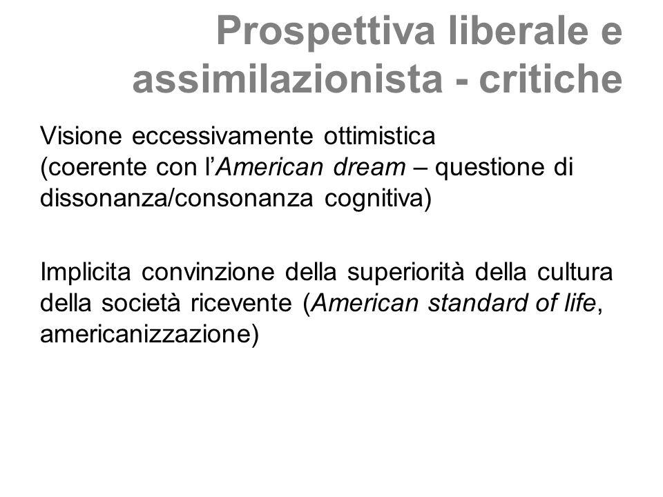 Prospettiva liberale e assimilazionista - critiche Visione eccessivamente ottimistica (coerente con lAmerican dream – questione di dissonanza/consonan