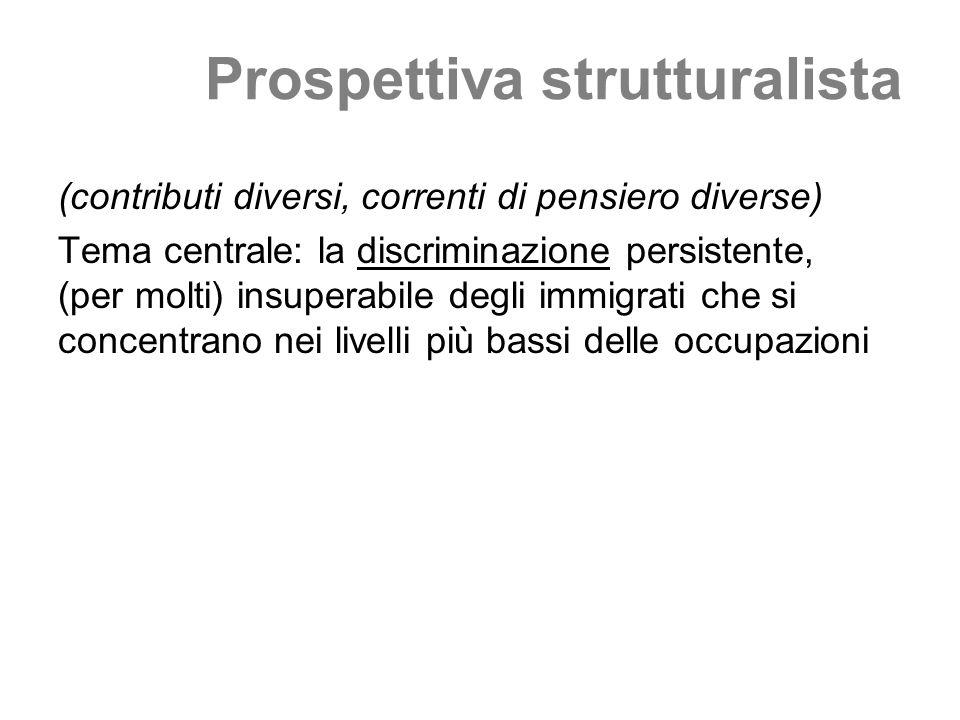Prospettiva strutturalista (contributi diversi, correnti di pensiero diverse) Tema centrale: la discriminazione persistente, (per molti) insuperabile degli immigrati che si concentrano nei livelli più bassi delle occupazioni