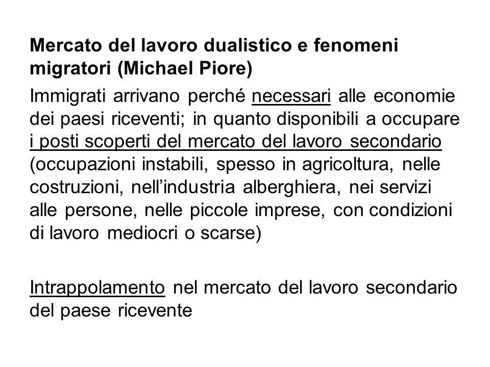 Mercato del lavoro dualistico e fenomeni migratori (Michael Piore) Immigrati arrivano perché necessari alle economie dei paesi riceventi; in quanto di
