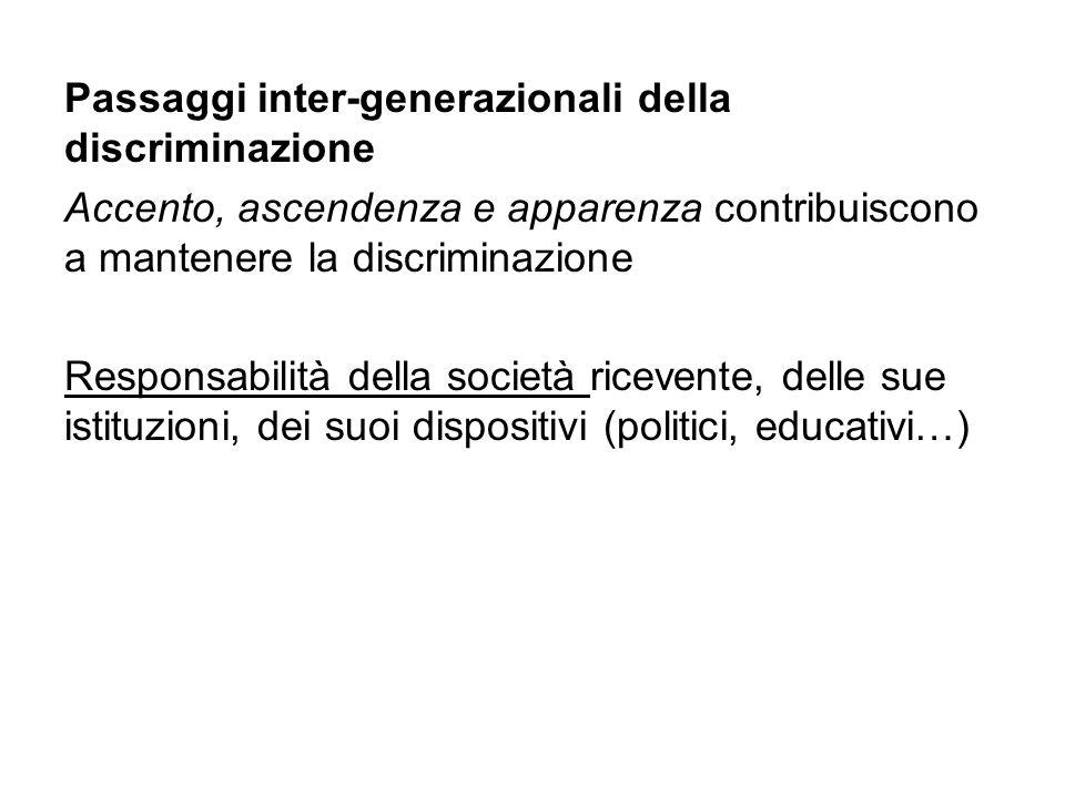Passaggi inter-generazionali della discriminazione Accento, ascendenza e apparenza contribuiscono a mantenere la discriminazione Responsabilità della società ricevente, delle sue istituzioni, dei suoi dispositivi (politici, educativi…)