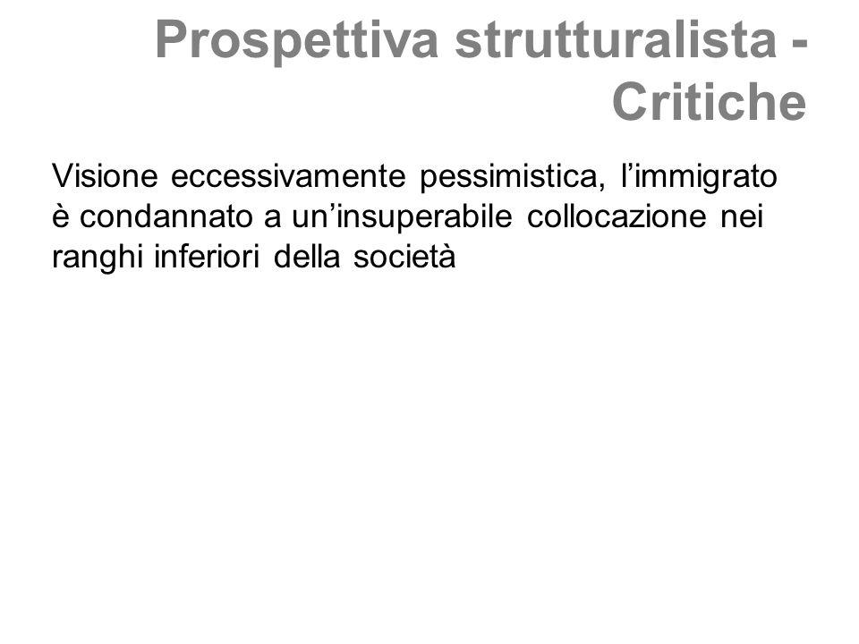 Prospettiva strutturalista - Critiche Visione eccessivamente pessimistica, limmigrato è condannato a uninsuperabile collocazione nei ranghi inferiori della società