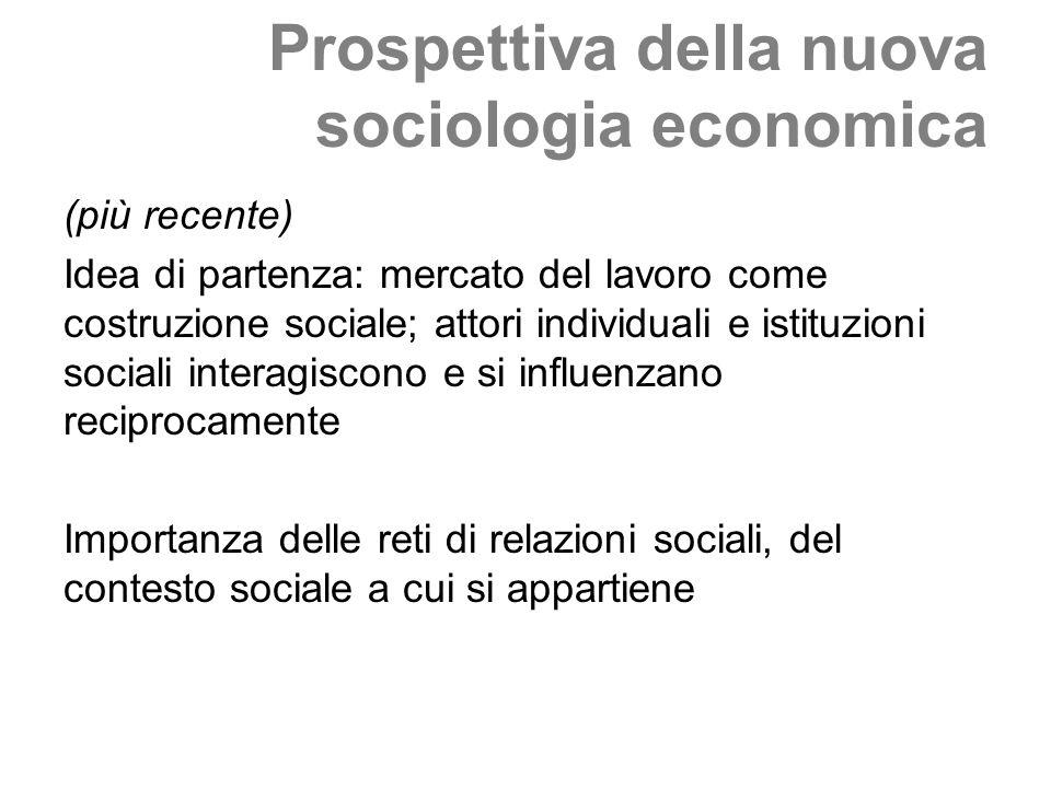 Prospettiva della nuova sociologia economica (più recente) Idea di partenza: mercato del lavoro come costruzione sociale; attori individuali e istituzioni sociali interagiscono e si influenzano reciprocamente Importanza delle reti di relazioni sociali, del contesto sociale a cui si appartiene