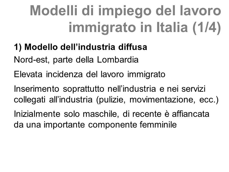 Modelli di impiego del lavoro immigrato in Italia (1/4) 1) Modello dellindustria diffusa Nord-est, parte della Lombardia Elevata incidenza del lavoro