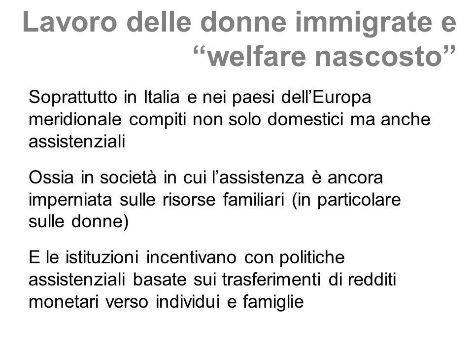 Lavoro delle donne immigrate e welfare nascosto Soprattutto in Italia e nei paesi dellEuropa meridionale compiti non solo domestici ma anche assistenz