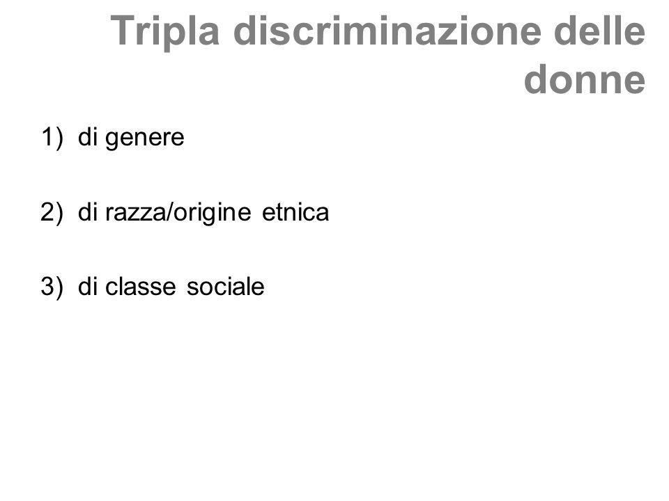Tripla discriminazione delle donne 1)di genere 2)di razza/origine etnica 3)di classe sociale