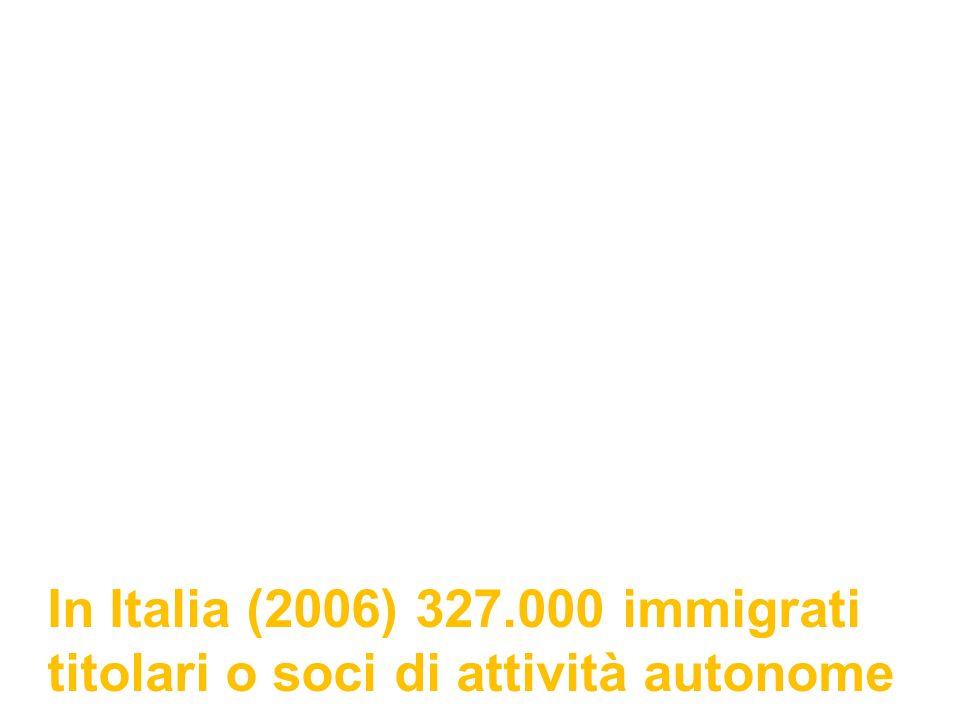 In Italia (2006) 327.000 immigrati titolari o soci di attività autonome