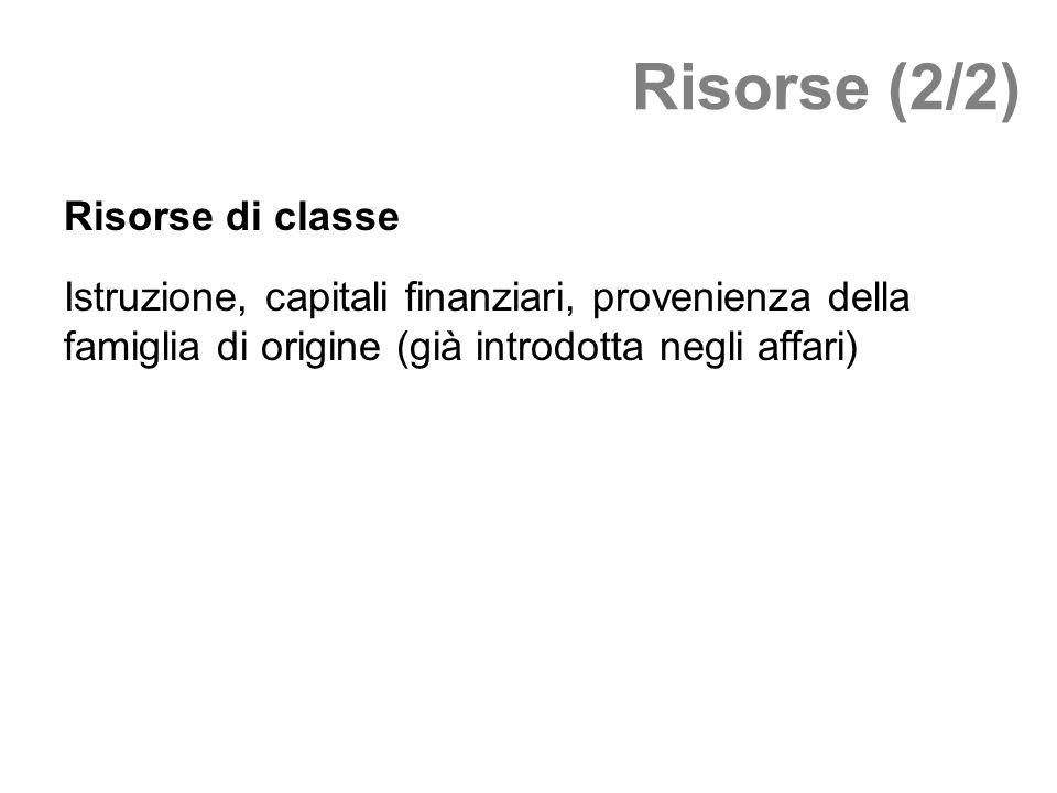 Risorse (2/2) Risorse di classe Istruzione, capitali finanziari, provenienza della famiglia di origine (già introdotta negli affari)