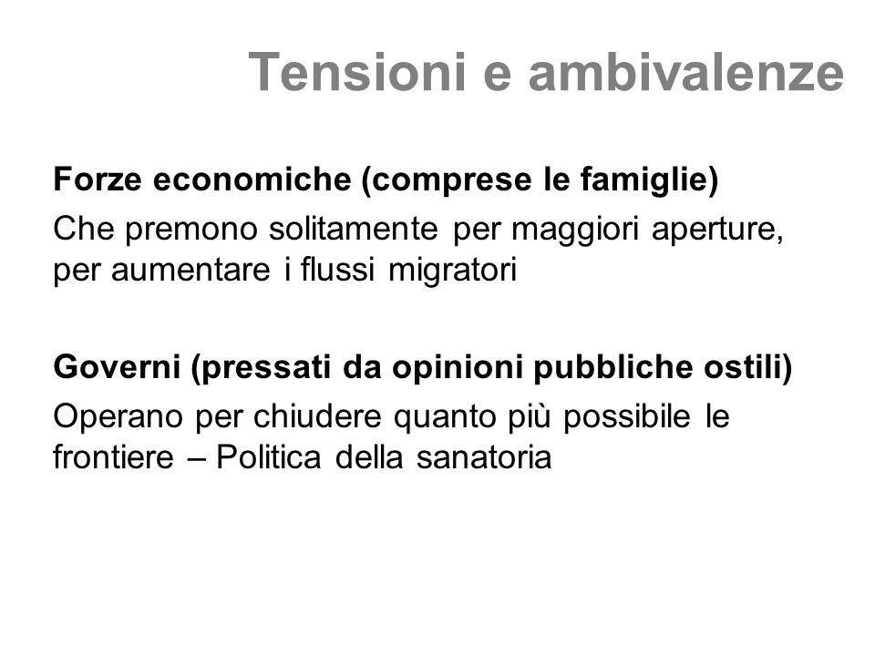 Tensioni e ambivalenze Forze economiche (comprese le famiglie) Che premono solitamente per maggiori aperture, per aumentare i flussi migratori Governi