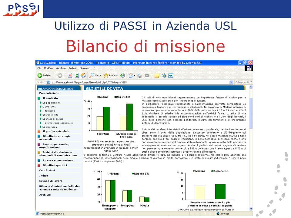 Utilizzo di PASSI in Azienda USL Bilancio di missione