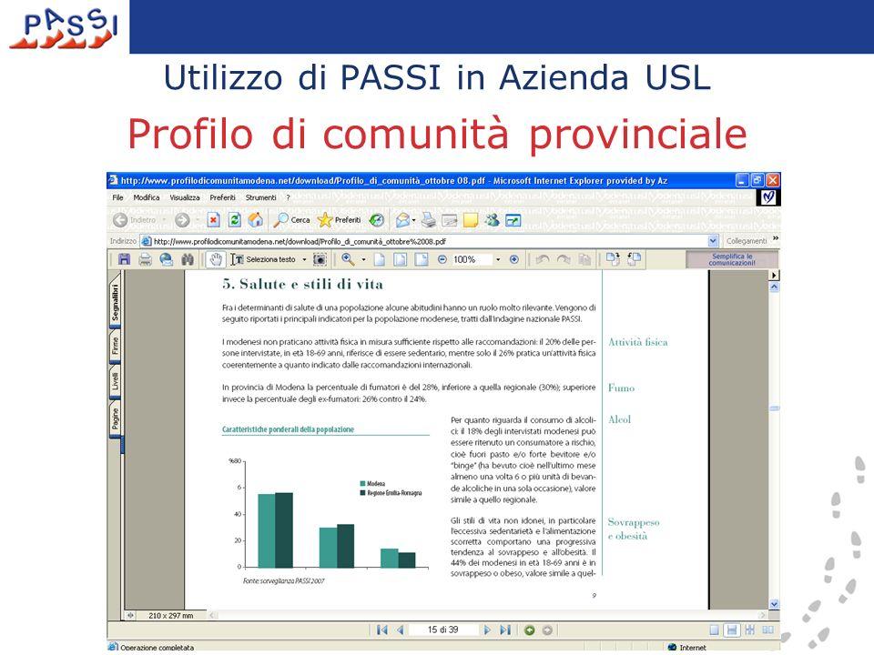 Utilizzo di PASSI in Azienda USL Profilo di comunità provinciale