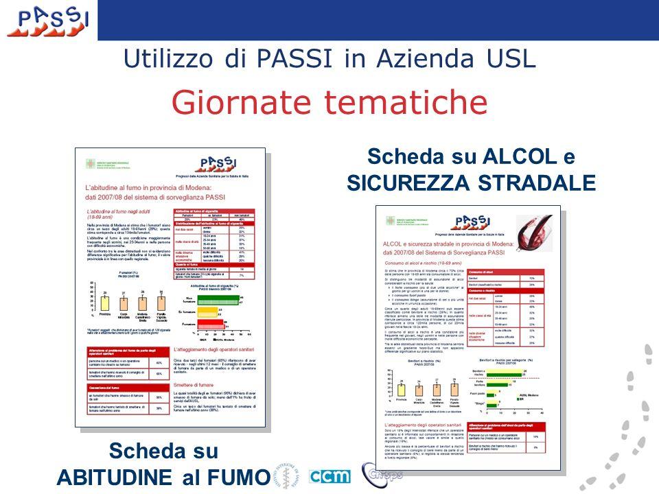 Utilizzo di PASSI in Azienda USL Giornate tematiche Scheda su ABITUDINE al FUMO Scheda su ALCOL e SICUREZZA STRADALE