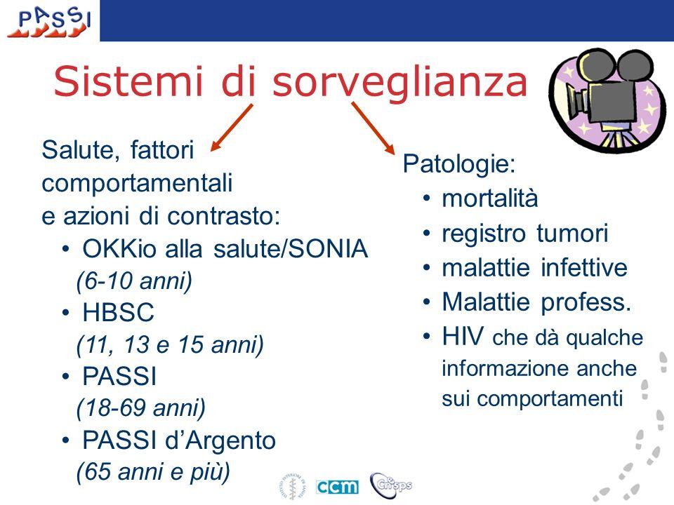 Sistemi di sorveglianza Patologie: mortalità registro tumori malattie infettive Malattie profess. HIV che dà qualche informazione anche sui comportame