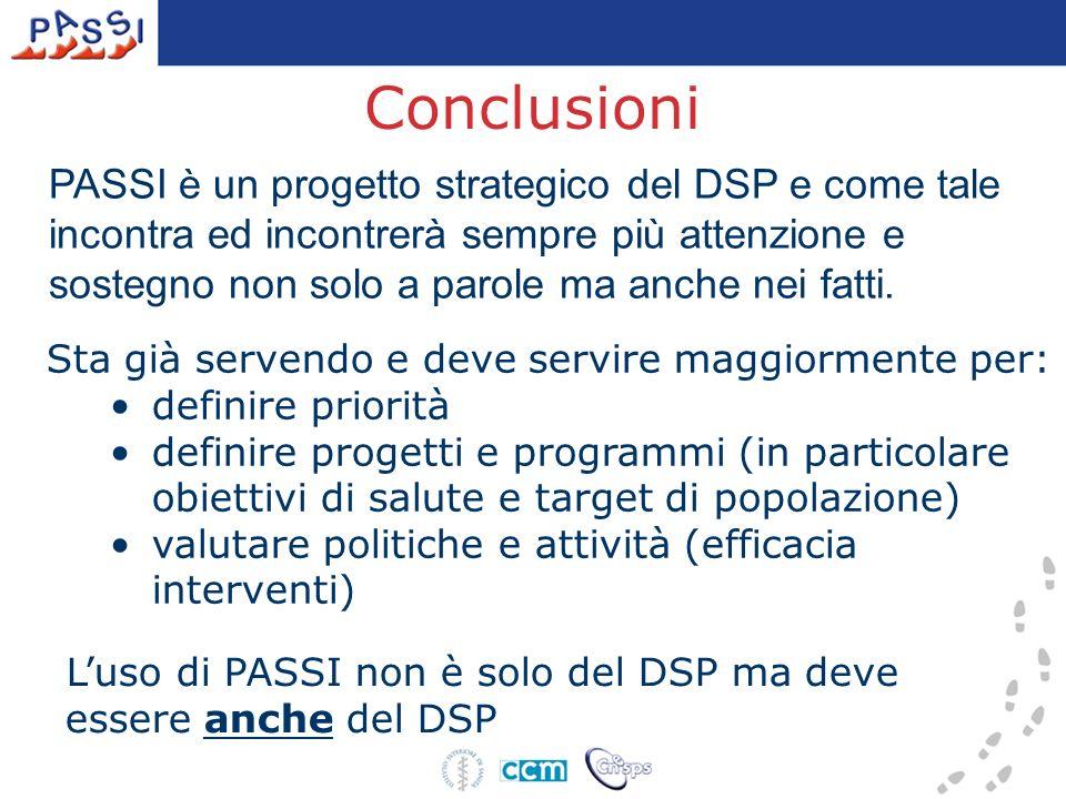 Conclusioni PASSI è un progetto strategico del DSP e come tale incontra ed incontrerà sempre più attenzione e sostegno non solo a parole ma anche nei