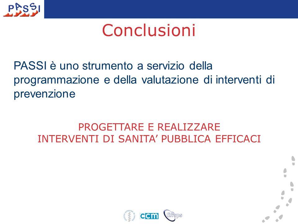 Conclusioni PASSI è uno strumento a servizio della programmazione e della valutazione di interventi di prevenzione PROGETTARE E REALIZZARE INTERVENTI