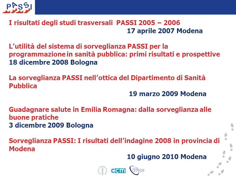 I risultati degli studi trasversali PASSI 2005 – 2006 17 aprile 2007 Modena L utilit à del sistema di sorveglianza PASSI per la programmazione in sani