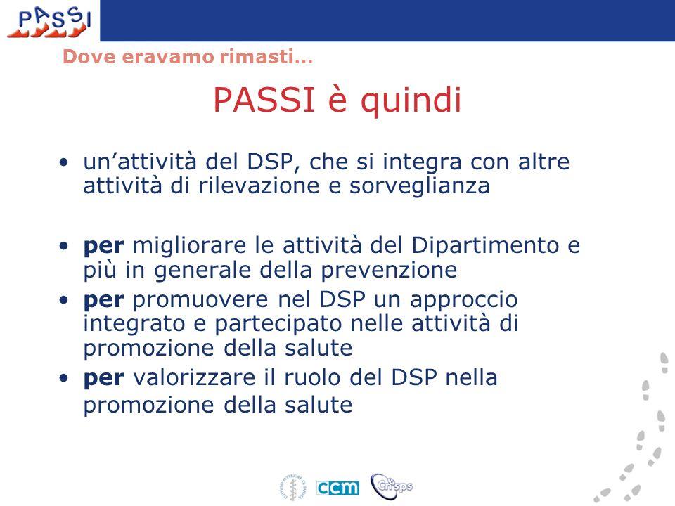 PASSI è quindi unattività del DSP, che si integra con altre attività di rilevazione e sorveglianza per migliorare le attività del Dipartimento e più i