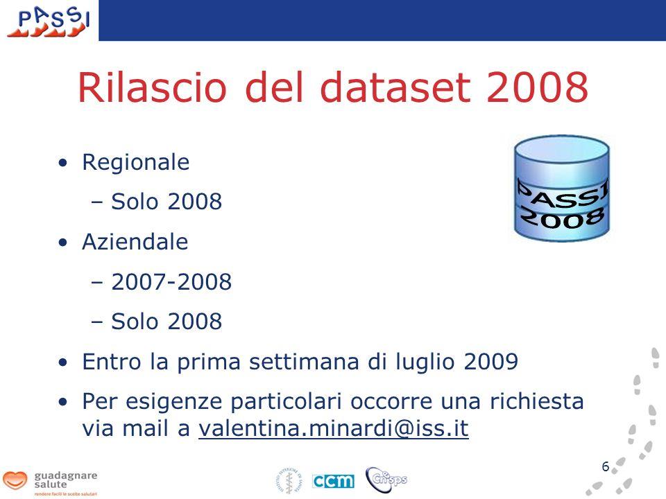 6 Rilascio del dataset 2008 Regionale –Solo 2008 Aziendale –2007-2008 –Solo 2008 Entro la prima settimana di luglio 2009 Per esigenze particolari occorre una richiesta via mail a valentina.minardi@iss.it