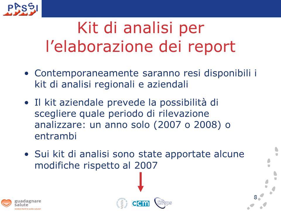 8 Kit di analisi per lelaborazione dei report Contemporaneamente saranno resi disponibili i kit di analisi regionali e aziendali Il kit aziendale prevede la possibilità di scegliere quale periodo di rilevazione analizzare: un anno solo (2007 o 2008) o entrambi Sui kit di analisi sono state apportate alcune modifiche rispetto al 2007