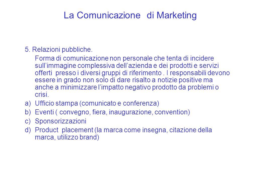 La Comunicazione di Marketing 5. Relazioni pubbliche. Forma di comunicazione non personale che tenta di incidere sullimmagine complessiva dellazienda