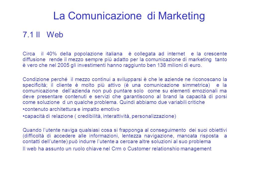 La Comunicazione di Marketing 7.1 Il Web Circa il 40% della popolazione italiana è collegata ad internet e la crescente diffusione rende il mezzo semp