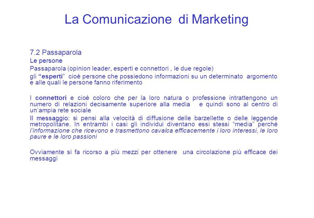 La Comunicazione di Marketing 7.2 Passaparola Le persone Passaparola (opinion leader, esperti e connettori, le due regole) gli esperti cioè persone ch