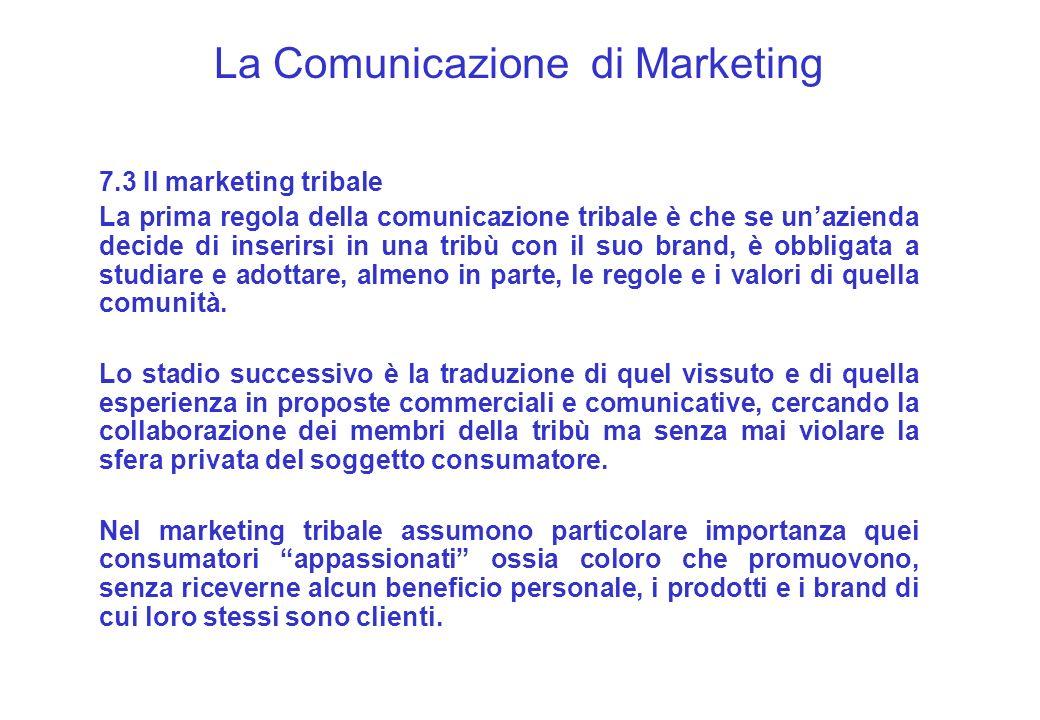 La Comunicazione di Marketing 7.3 Il marketing tribale La prima regola della comunicazione tribale è che se unazienda decide di inserirsi in una tribù