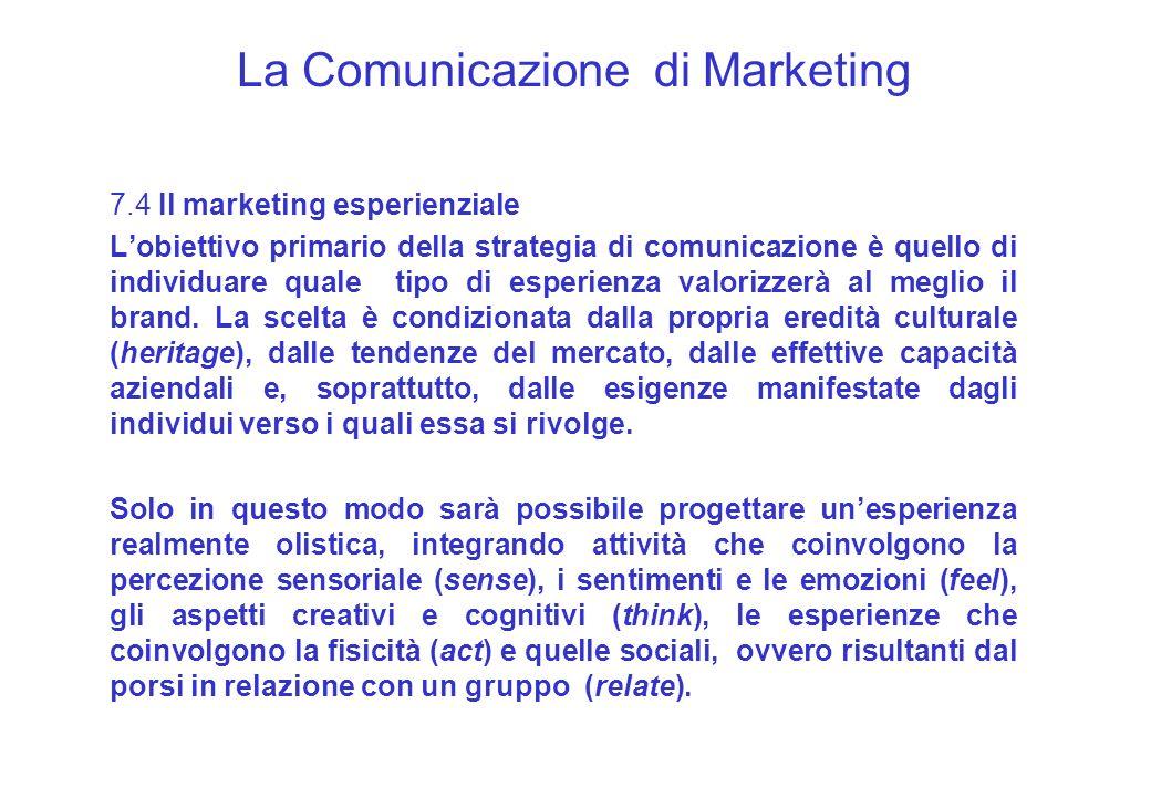 La Comunicazione di Marketing 7.4 Il marketing esperienziale Lobiettivo primario della strategia di comunicazione è quello di individuare quale tipo d
