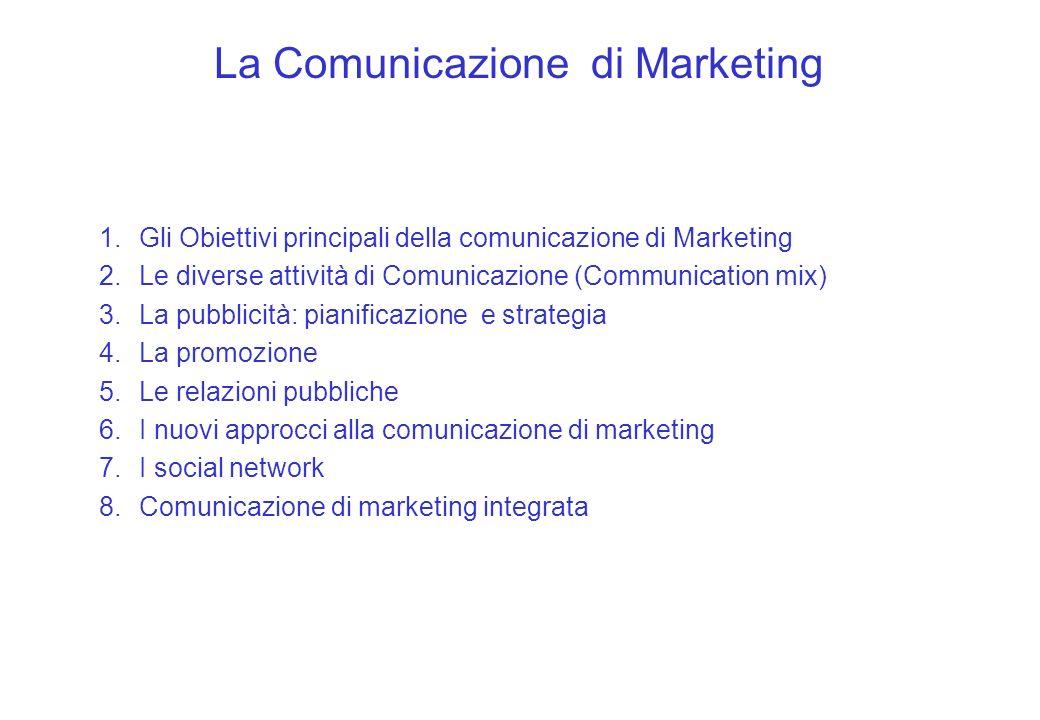 1.Gli Obiettivi principali della comunicazione di Marketing 2.Le diverse attività di Comunicazione (Communication mix) 3.La pubblicità: pianificazione
