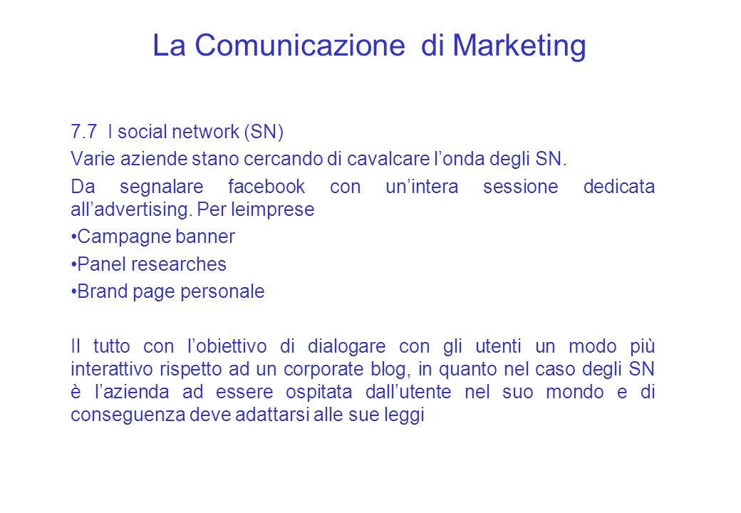 La Comunicazione di Marketing 7.7 I social network (SN) Varie aziende stano cercando di cavalcare londa degli SN. Da segnalare facebook con unintera s