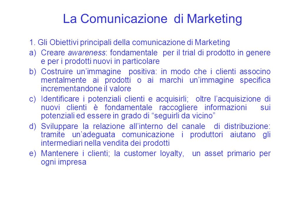 La Comunicazione di Marketing 1.