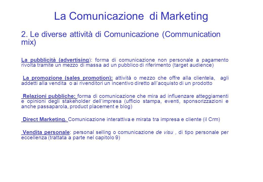 La Comunicazione di Marketing 2. Le diverse attività di Comunicazione (Communication mix) La pubblicità (advertising): forma di comunicazione non pers