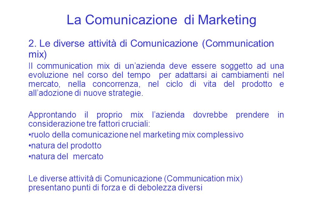 La Comunicazione di Marketing 2.