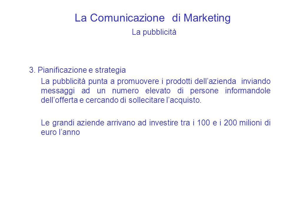 La Comunicazione di Marketing La pubblicità 3. Pianificazione e strategia La pubblicità punta a promuovere i prodotti dellazienda inviando messaggi ad