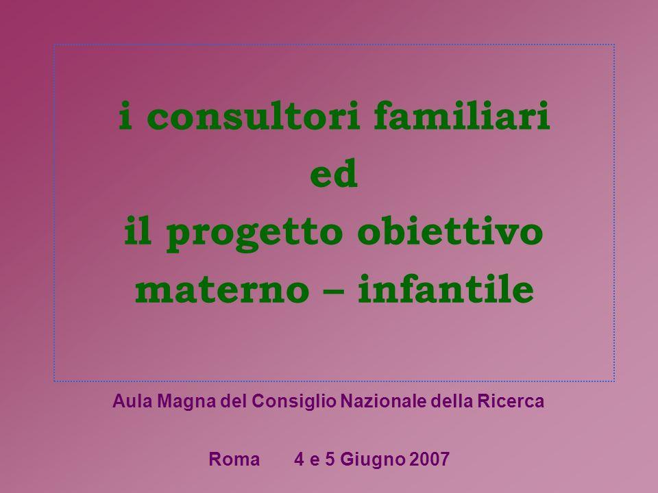 i consultori familiari ed il progetto obiettivo materno – infantile Roma 4 e 5 Giugno 2007 Aula Magna del Consiglio Nazionale della Ricerca