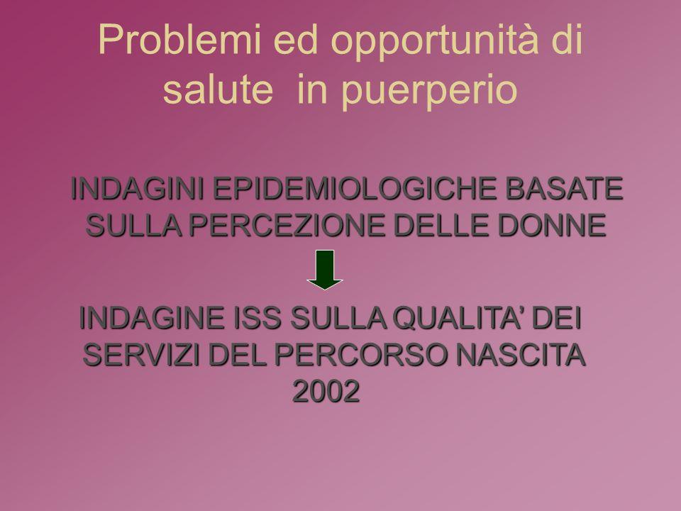 Problemi ed opportunità di salute in puerperio INDAGINI EPIDEMIOLOGICHE BASATE SULLA PERCEZIONE DELLE DONNE INDAGINE ISS SULLA QUALITA DEI SERVIZI DEL PERCORSO NASCITA 2002