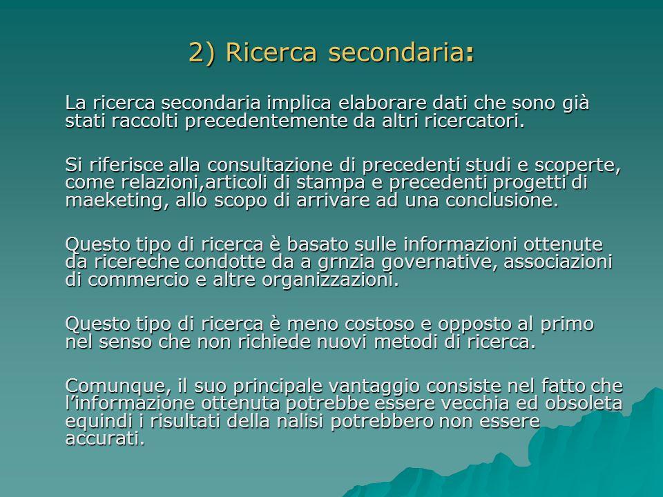 2) Ricerca secondaria: La ricerca secondaria implica elaborare dati che sono già stati raccolti precedentemente da altri ricercatori. Si riferisce all