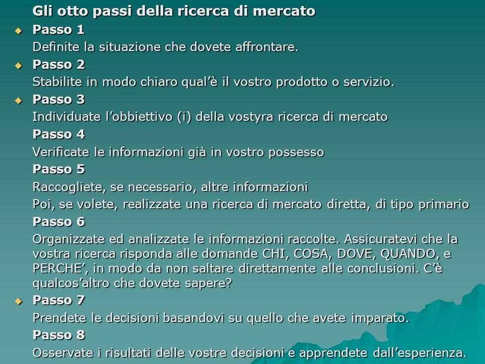 Gli otto passi della ricerca di mercato Passo 1 Passo 1 Definite la situazione che dovete affrontare. Passo 2 Passo 2 Stabilite in modo chiaro qualè i