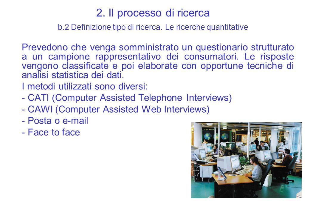 2. Il processo di ricerca b.2 Definizione tipo di ricerca. Le ricerche quantitative Prevedono che venga somministrato un questionario strutturato a un